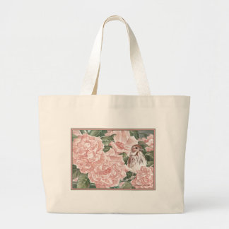 Song Sparrow and Pink Roses Flower Painting Tote Bag