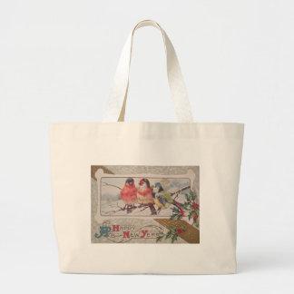 Songbird Holly Snow Jumbo Tote Bag