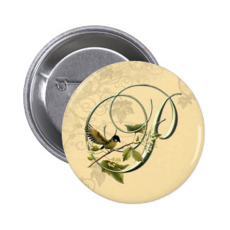 Songbird Initial P 6 Cm Round Badge