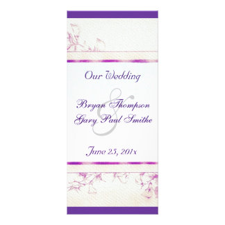 Songbird Shabby Chic WEDDING Program 10 Cm X 23 Cm Rack Card
