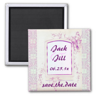 Songbird Shabby Chic WEDDING Save The Date Square Magnet