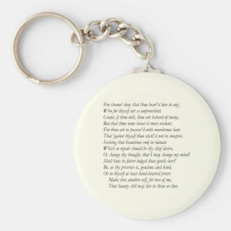 Sonnet # 10 by William Shakespeare Key Ring