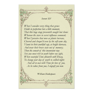 Sonnet # 15 by William Shakespeare Poster