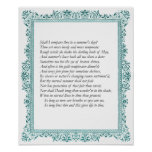 Sonnet # 18 by William Shakespeare Poster