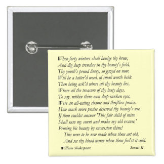 Sonnet 2 by William Shakespeare Buttons