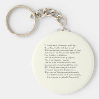 Sonnet # 39 by William Shakespeare Key Chain