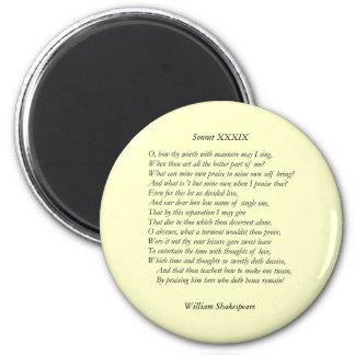 Sonnet 39 by William Shakespeare Fridge Magnet