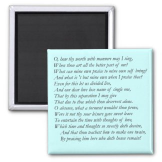 Sonnet 39 by William Shakespeare Magnet