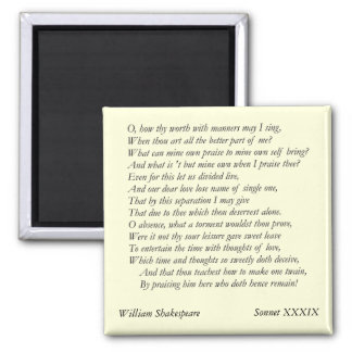 Sonnet # 39 by William Shakespeare Refrigerator Magnets