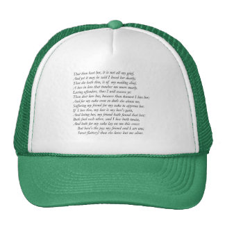 Sonnet 42 by William Shakespeare Mesh Hats