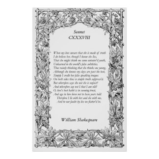 Sonnet Number 138 by William Shakespeare Poster