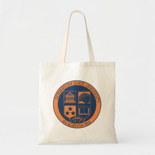 Sonniton State University Seal - Navy/Orange Canvas Bags