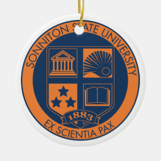 Sonniton State University Seal - Navy/Orange Ceramic Ornament