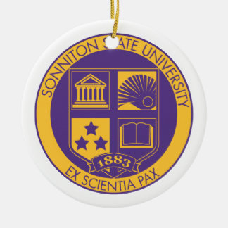 Sonniton State University Seal - Purple/Gold Ceramic Ornament