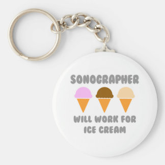 Sonographer ... Will Work For Ice Cream Basic Round Button Key Ring