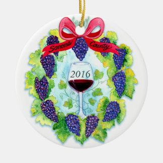 Sonoma County Wine Grapes Christmas Wreath Ceramic Ornament