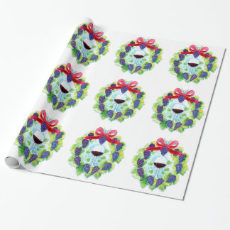 Sonoma County Wine Grapes Christmas Wreath Wrapping Paper