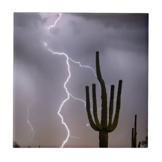 Sonoran Desert Monsoon Storming Ceramic Tile