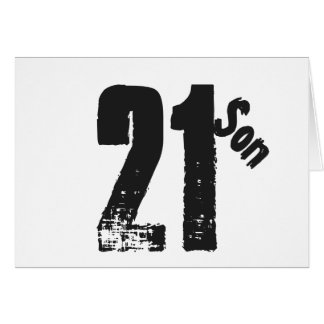 Son's 21st birthday, white and black. greeting card