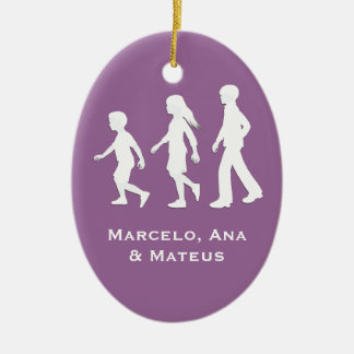 Sons and Daughter: Paper Cut-Out Style Siblings Ceramic Oval Decoration