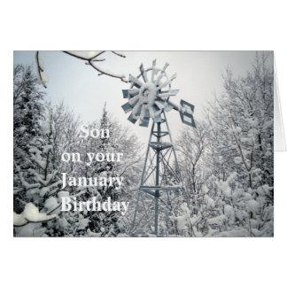 Son's January Birthday-windmill winter scene Card