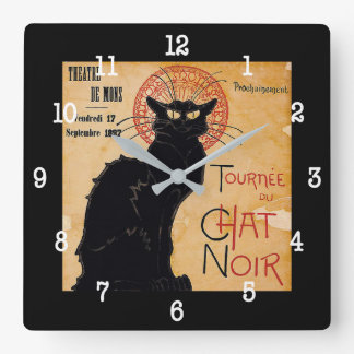 """Soon and the Black Cat Tour by Rodolphe Salis"" Square Wall Clock"