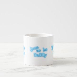 Soon to be daddy blue text mug 6 oz ceramic espresso cup