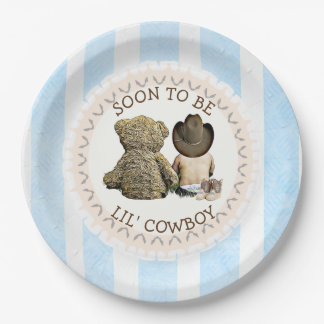 Soon to be Lil' Cowboy Baby Shower Paper Plates