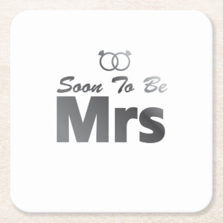 Soon To Be Mrs Bachelor Party Bride Team wedding Square Paper Coaster