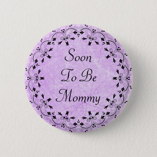 Soon to be Mummy Purple and Black Button