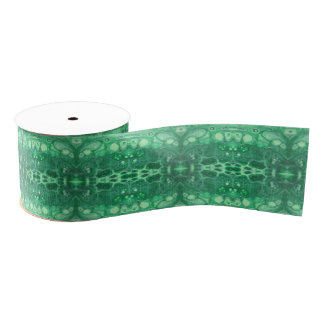Soothing abstract green tidepool kaliedoscope grosgrain ribbon