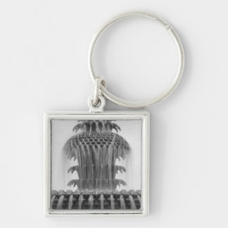 Soothing Pineapple Silver-Colored Square Key Ring