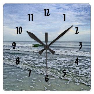 Soothing Tides Along Carolinas Seashore Square Wall Clock
