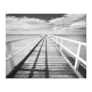Soothing Vintage Ocean Pier In Black And White Canvas Print