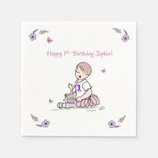 Sophia 1st Birthday Napkin Disposable Serviettes