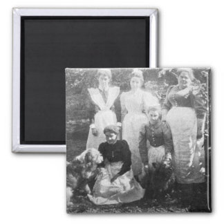 Sophia Farrell and maids, 1899 Square Magnet