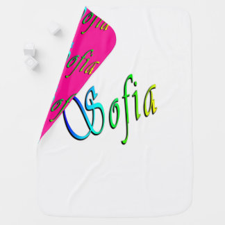 Sophia, Name, Logo, Reversible Baby Blanket. Baby Blanket