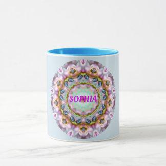 SOPHIA ~ Personalised Paua Shell Fractal ~ Mug