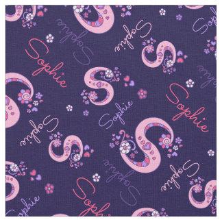 Sophie letter S monogram heart flowers fabric
