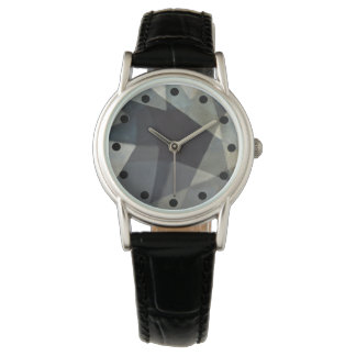 Sophisticated Abstract Watch with Black Band