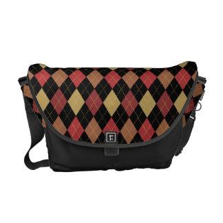 Sophisticated Argyle Baroque Tones on Black Courier Bag