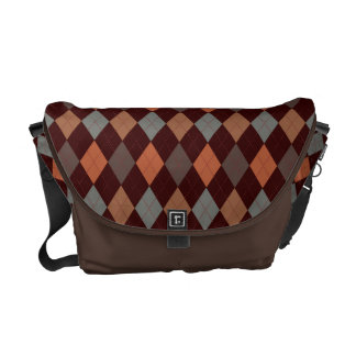 Sophisticated Argyle Baroque Tones on Brown Courier Bag