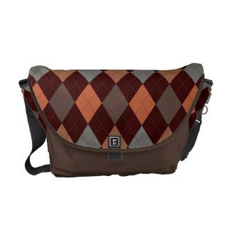 Sophisticated Argyle Baroque Tones on Tan Messenger Bags
