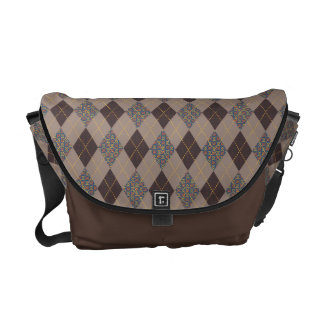 Sophisticated Argyle Camaroon Patterns on Brown Messenger Bags