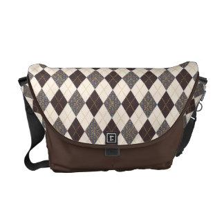 Sophisticated Argyle Camaroon Patterns on Cream Messenger Bag