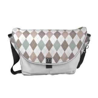 Sophisticated Argyle in Subtle Pastel Messenger Bags