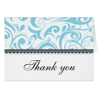 Sophisticated Baby Blue Swirls Thank You Card