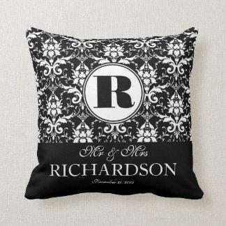 Sophisticated Black and White Damask Monogram Cushion