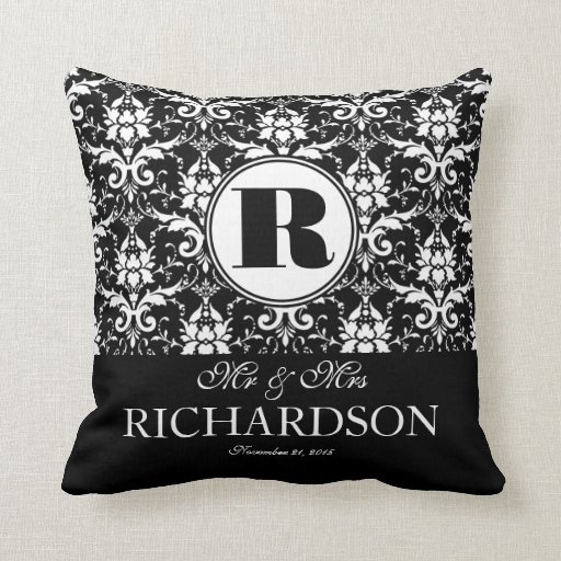Sophisticated Black and White Damask Monogram Throw Pillows