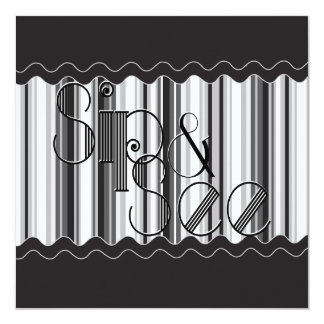 Sophisticated Black and White Sip and See 2 Card
